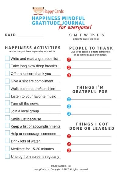 happiness check list